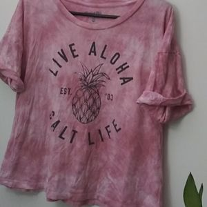 Salt life tshirt tye dye pink and white size lrg